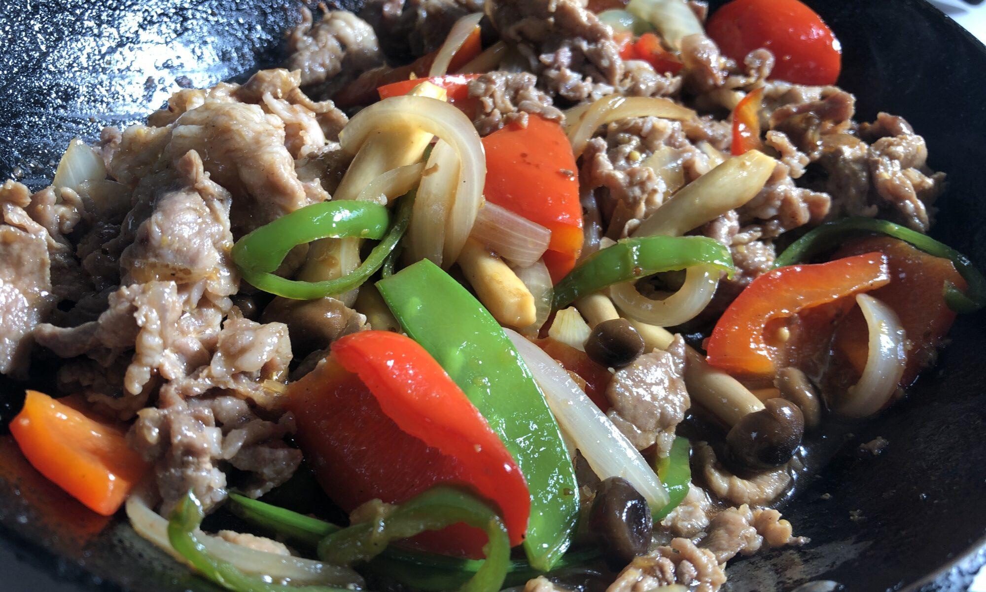 豚肉と野菜のマスタード炒め